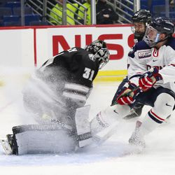 The Providence Friars take on the UConn Huskies in a men's college hockey game at the XL Center in Hartford, CT on February 26, 2019.
