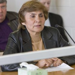 The widow of Victor Aguilar testifies at the parole hearing of Thomas Noffsinger on Tuesday, March 2, 2010.