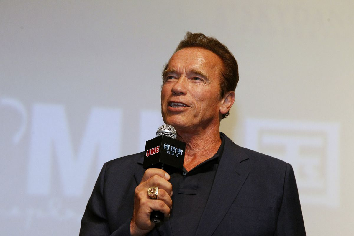 Arnold Schwarzenegger speaks to the audience at the event screening of the Terminator Genisys on August 18, 2015, in Shanghai, China.