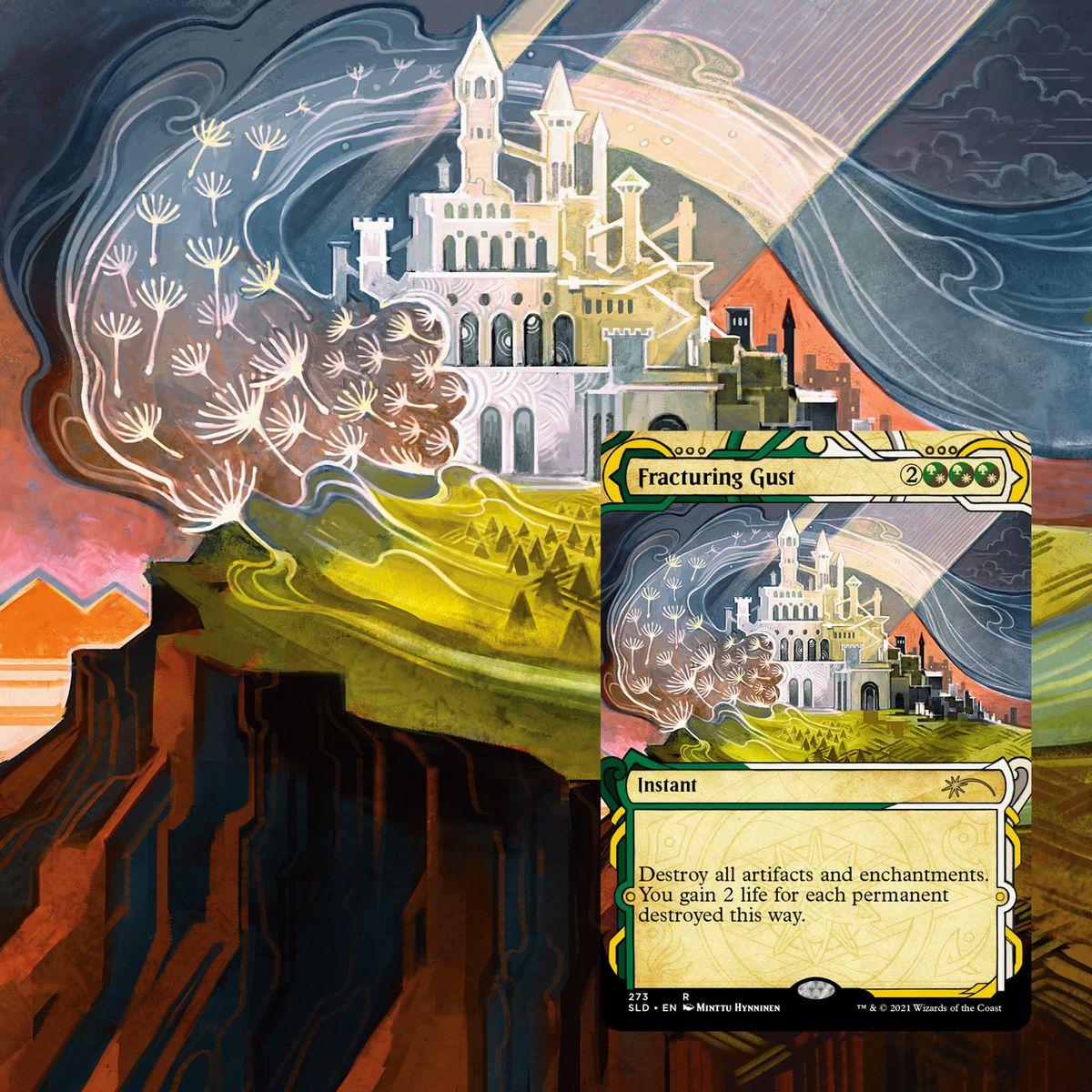 Ráfaga fracturada muestra un castillo en una colina, dividido por la luz del sol.  Los cogollos flotan en el viento.