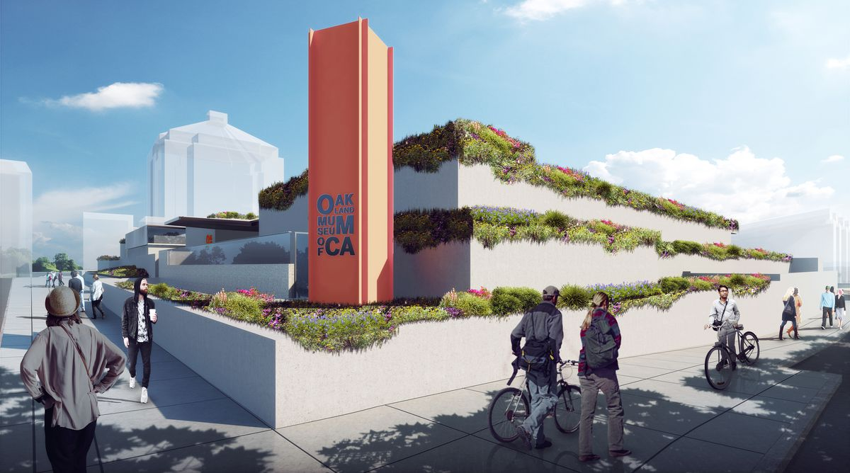Exterior rendering shows three levels of concrete facade of museum with plants bordering each level.