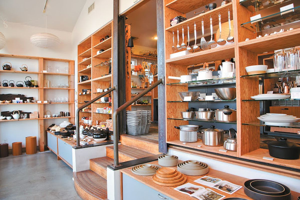 shelves filled with Japanese goods for the home from Tortoise General Store