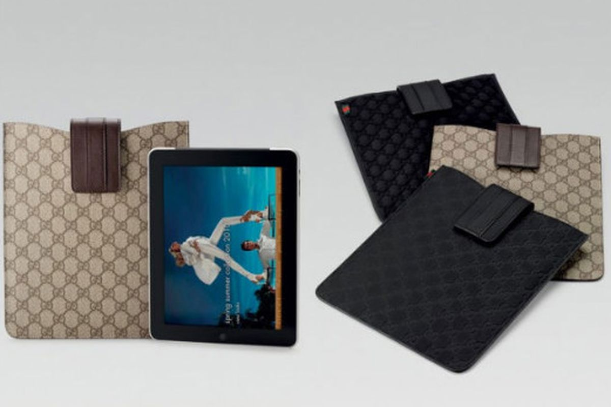"""Gucci standard cases for 235 smackers. It's the low end: Gucci will also make snazzy (read: $$$) special occasion cases, too. Image via <a href=""""http://ny.racked.com/archives/2010/06/07/gucci_gives_us_yet_another_reason_to_want_an_ipad.php"""">Racked N"""