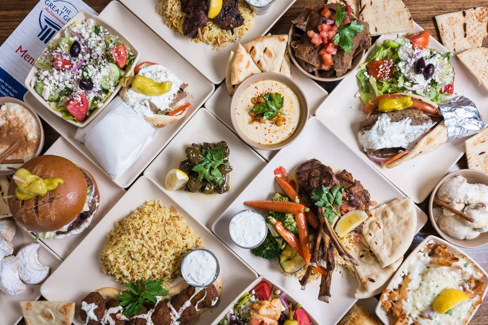 A selection healthy entrees, including gyros and burgers, available at The Great Greek Mediterranean Grill