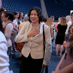 Sister Reyna I. Aburto, second counselor in the LDS Church's Relief Society general presidency, speaks to attendees of the BYU Women's Conference in the Marriott Center at BYU in Provo on Friday, May 5, 2017.