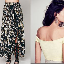 """<strong>Free People</strong> Dreamin Bohemian Wrap Slip, <a href=""""http://www.freepeople.com/clothes-skirts/dreamin-bohemian-wrap-slip/_/PRODUCTOPTIONIDS/47897259-282D-4540-A100-C74CB98DC018/"""">$118</a>, and Smocked Crop Top, <a href=""""http://www.freepeople."""