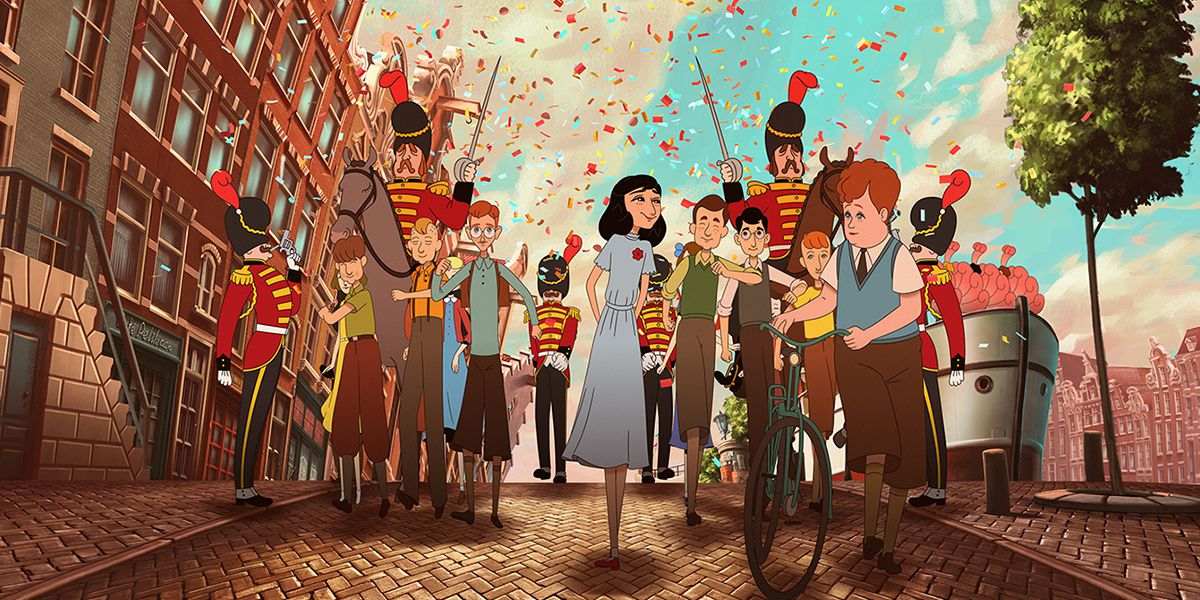 Anne Frank walks in a parade of young boys in happier times in Ari Folman's animated feature Where Is Anne Frank
