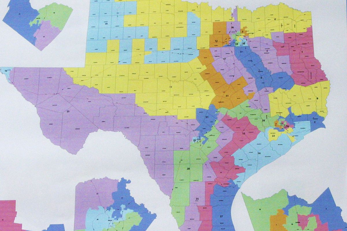 A map of a Texas redistricting proposal from 2003.