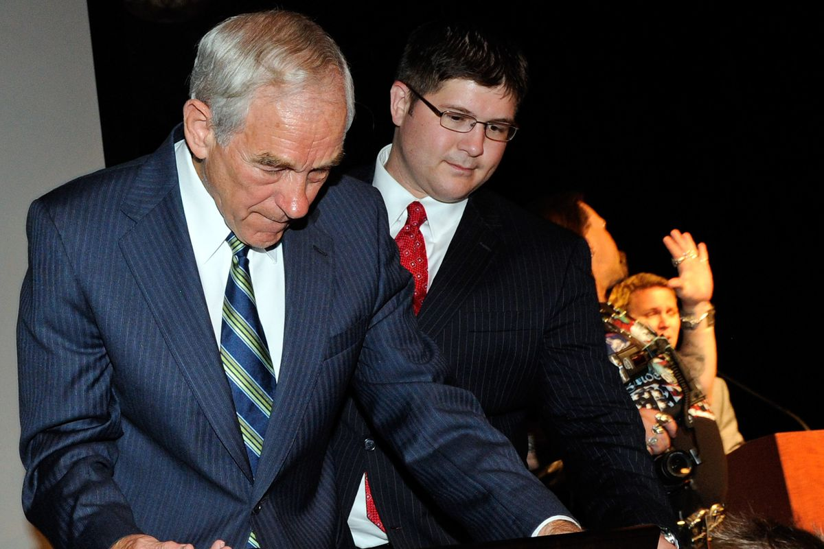 Ron Paul (left) and Jesse Benton, during the 2012 presidential campaign.