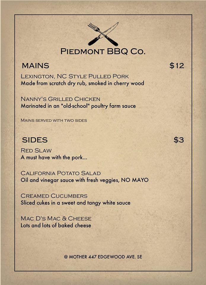 Piedmont BBQ Co. menu