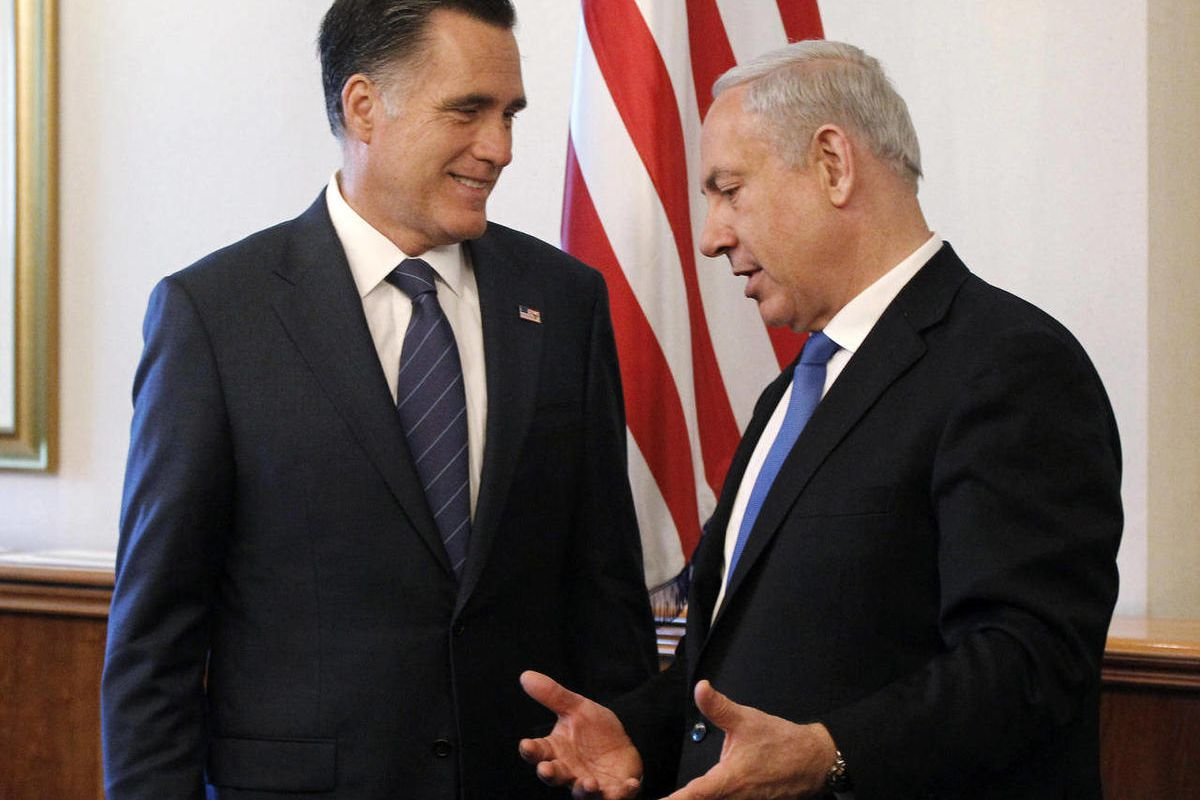 FILE - In this July 29, 2012 file photo, Republican presidential candidate, former Massachusetts Gov. Mitt Romney meets with Israel's Prime Minister Benjamin Netanyahu, in Jerusalem. Romney is set to speak by telephone with Netanyahu on Friday. The Republ