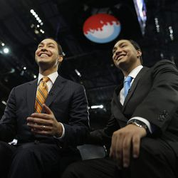San Antonio Mayor Julian Castro, left, who will be the convention keynote speaker, and his twin brother, State Representative Joaquin Castro, who is running for U.S. Congress, are interviewed at the Democratic National Convention in Charlotte, N.C., Monday, Sept. 3, 2012.