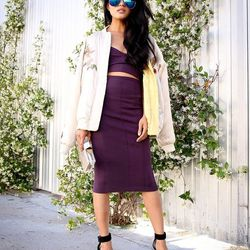 """Olivia of <a href=""""http://lusttforlife.com/"""">Lust for Life</a> is wearing an Isabel Marant bomber jacket, a Guess by Marciano <a href=""""http://guessbymarciano.guess.com/en/Catalog/View/P24R0100000?CMP=AFC-GANGBMMercent&mr:trackingCode=CDB50ADB-D21C-E211-8A"""