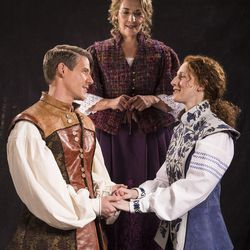 """Jeb Burris, left, as Orlando, Susanna Florence as Celia, and Cassandra Bissell as Rosalind star in the Utah Shakespeare Festival's 2017 production of """"As You Like It."""""""