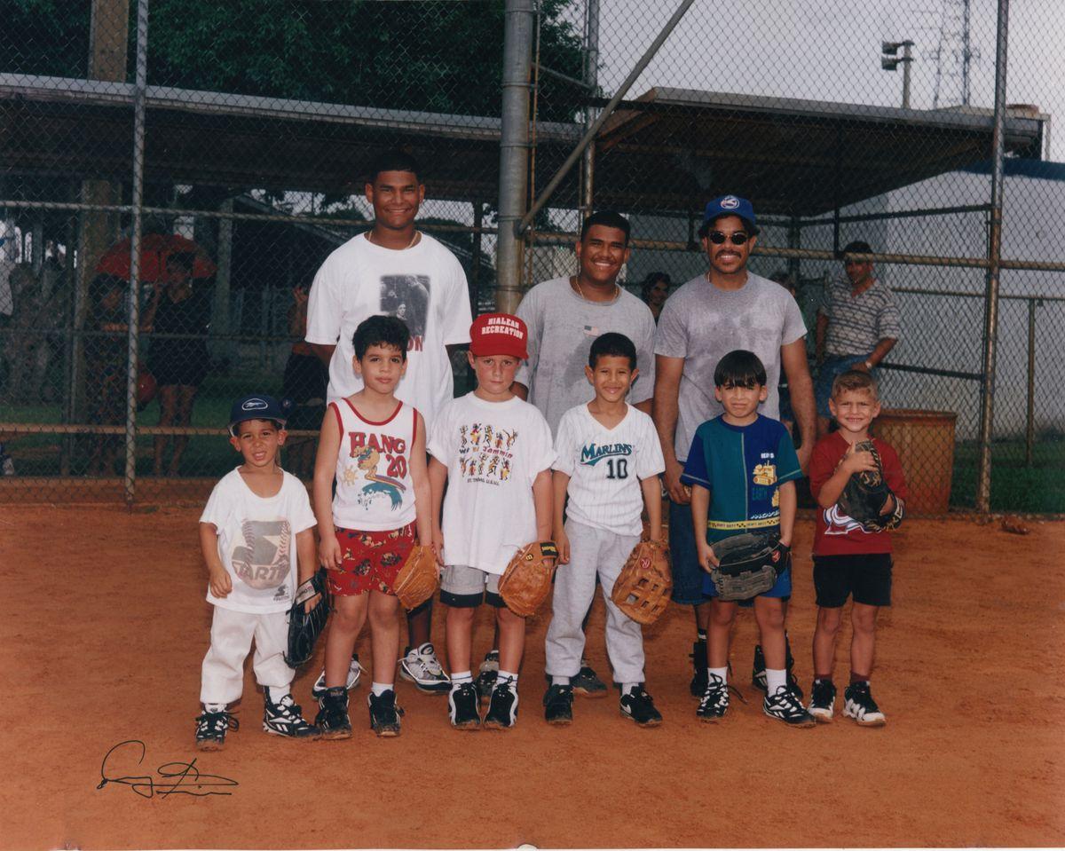 <em>Machado (No. 10) and Almora (far right) on the same team as kids in Miami.</em>