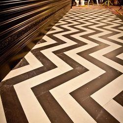 "The cool zigzag floor (<em>Twin Peaks</em>' <a href=""http://4.bp.blogspot.com/-Y3ITHN5_P2g/T2Y9Xx354tI/AAAAAAAAA7g/XVbhO9ESUfw/s1600/black+lodge.jpg"">Black Lodge</a>, anyone?)"