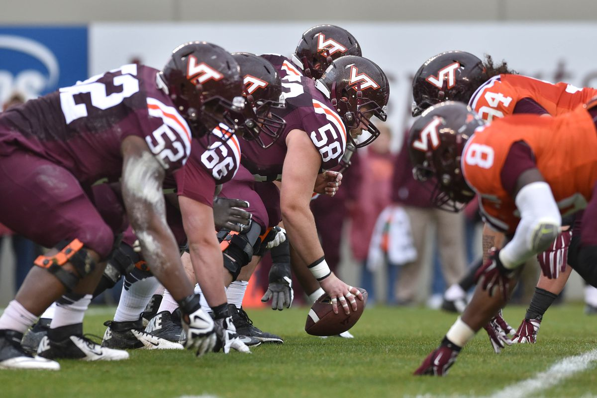 The next generation of Hokie Offensive Linemen take the field at the Spring Game