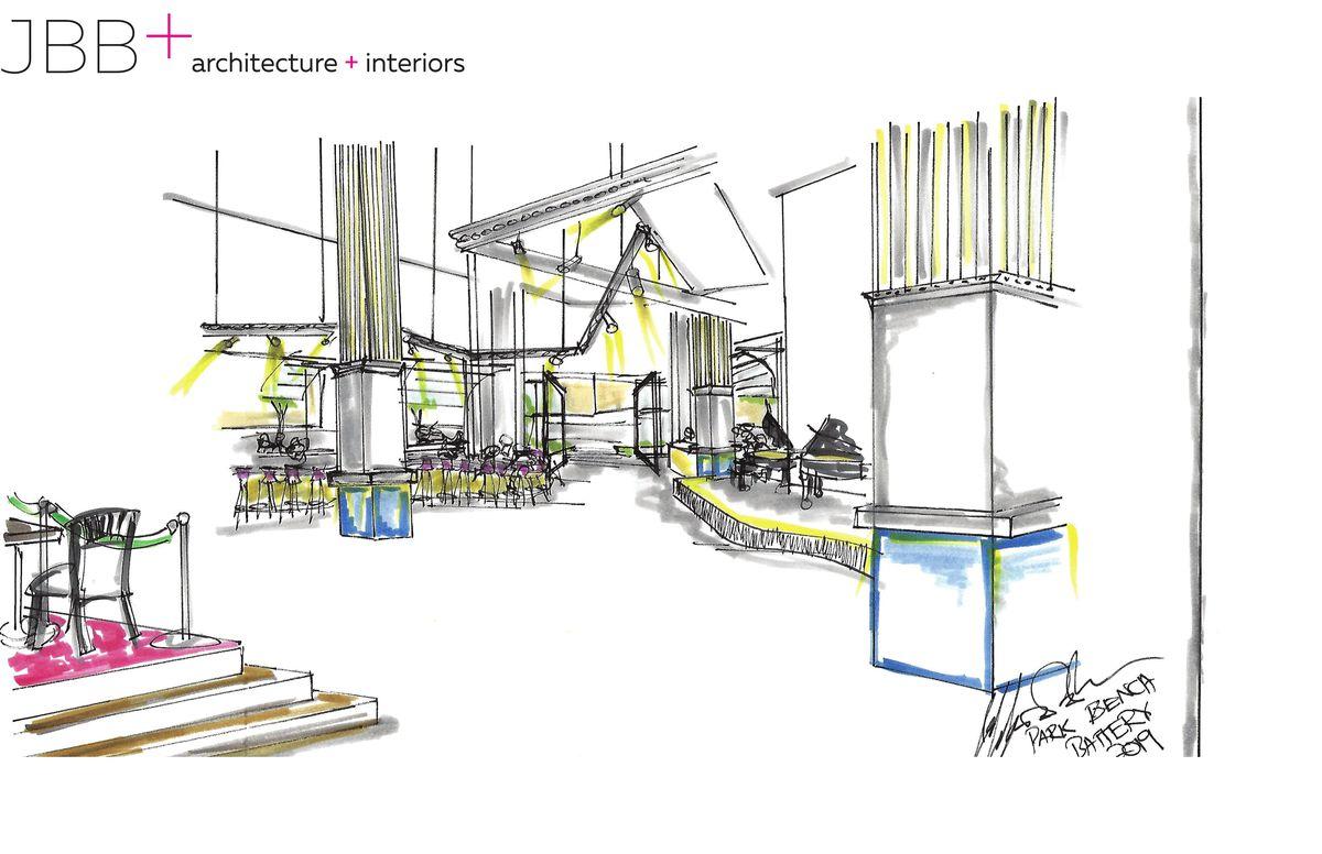 A rendering of the interior of Park Bench dueling piano bar at Battery Atlanta