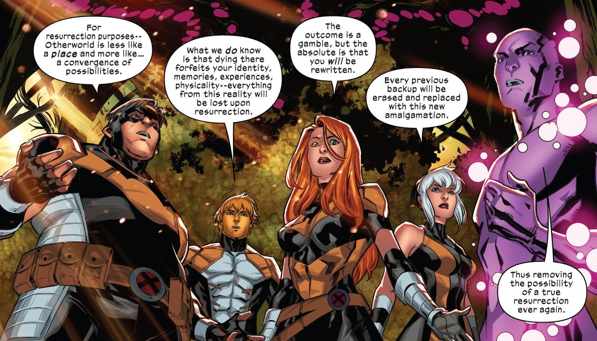 """The Five explain that if a mutant dies in Otherworld, their Cerebro backup will be rewritten with information from other realities, """"removing the possibility of a true resurrection ever again,"""" in X-Factor #4, Marvel Comics (2020)."""