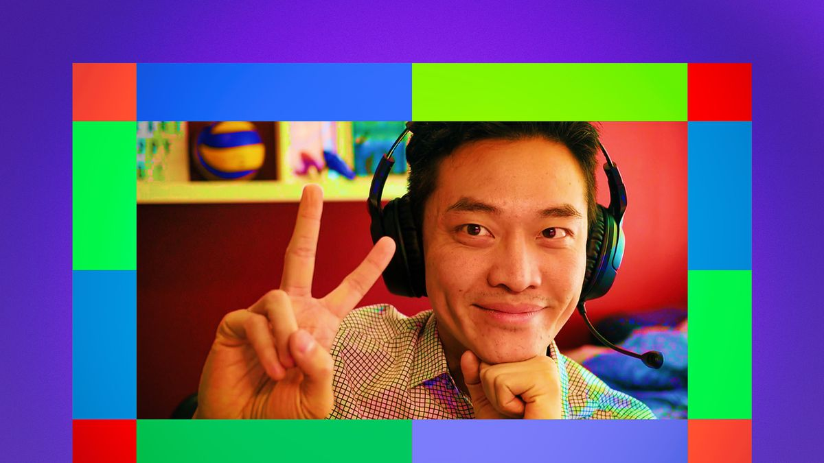 Illustration of man wearing headphones holds up two fingers in the peace sign surrounded by a multicolored border