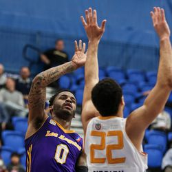 Los Angeles D-Fenders guard Vander Blue (0) shoots over Salt Lake City Stars forward JJ O'Brien (22) at the Lifetime Activities Center in Taylorsville on Wednesday, Feb. 08, 2017.