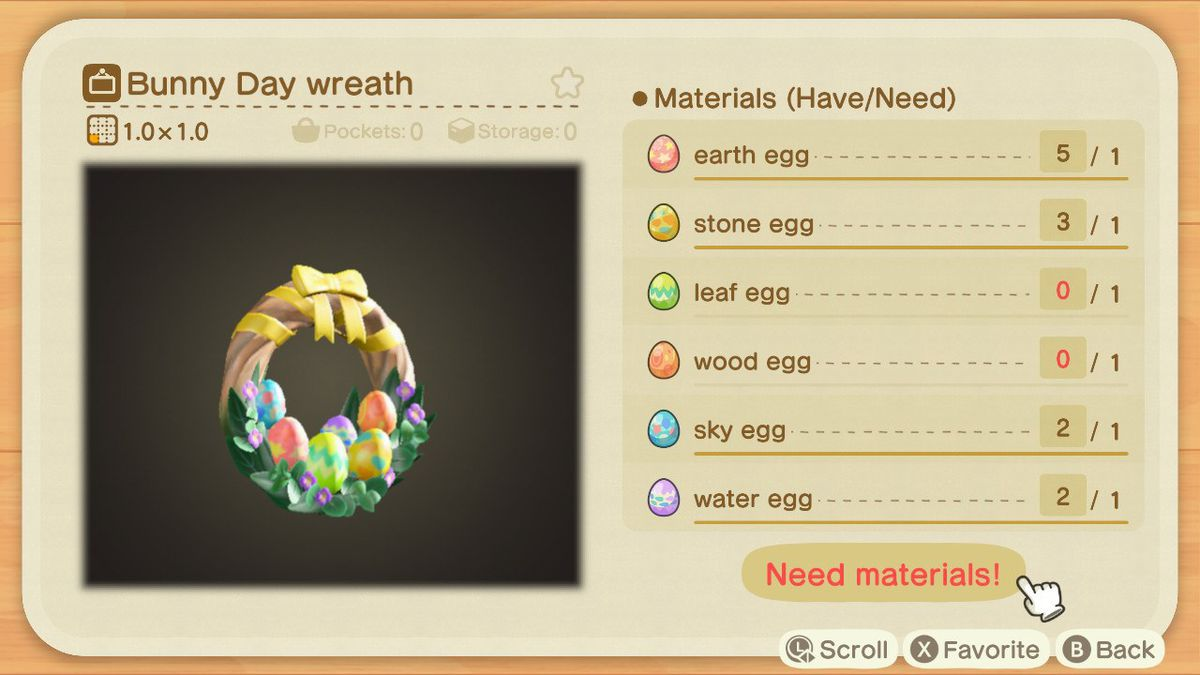 A crafting screen in Animal Crossing showing how to make a Bunny Day Wreath