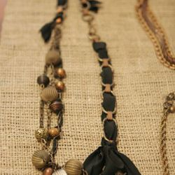 Shades of Grey silk, brass, and copper necklace $150