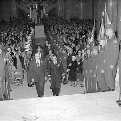 George Dewey Clyde climbs the east steps of the State Capitol to be sworn in as Utah's 10th governor on Jan. 7, 1957.