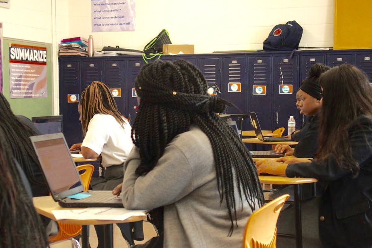 Students at Freedom Preparatory Academy's high school in Memphis prepare to take their TNReady geometry test online.