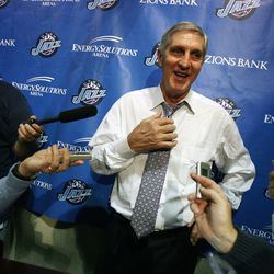 """Jerry Sloan talks to the press following his 1,000th win with the Utah Jazz. When asked how he felt regarding his marker of 1,000, he deflected the attention from himself. """"I've always felt it's a players' game,"""" he said on Nov. 6, 2008."""