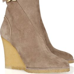 """<a href=""""http://www.theoutnet.com/product/162518"""">Chloé Suede wedge ankle boots</a>, $159 (were $795)"""