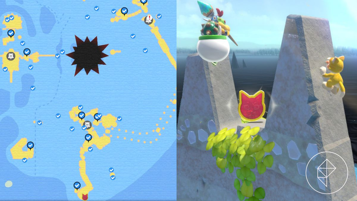 A map showing where to find a Cat Shine Shard on a spiky cliff