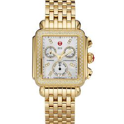 "<b>Michele</b> Gold Deco Day Diamond, <a href=""http://www.tourneau.com/shop/brand/michele/rvids/5187#pdpSeoKey!shop_brand_michele_gold-deco-day-diamond-dial-99e"">$1,795</a> at Tourneau. For the final countdown."
