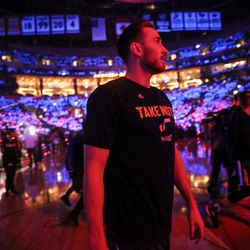 Utah Jazz forward Gordon Hayward (20) takes to the court for game five of the first round NBA playoffs series between the Utah Jazz and the Los Angeles Clippers at the Staples Center in Los Angeles on Tuesday, April 25, 2017.