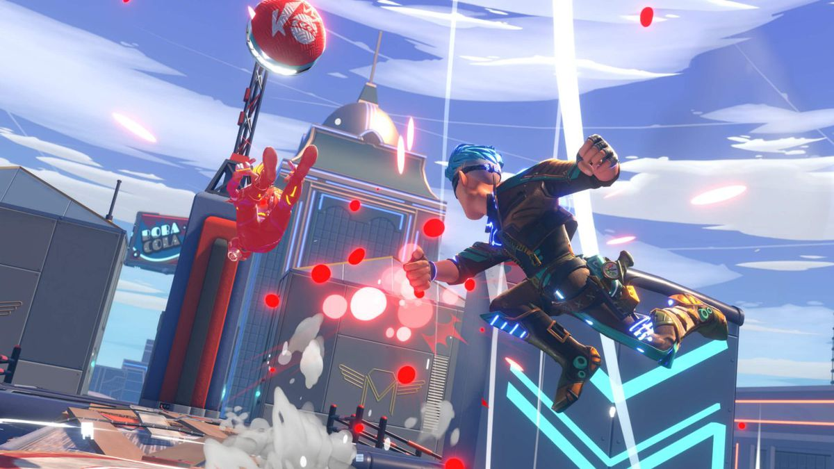 A futuristic-looking player knocks someone backward with a punch, sending a dodgeball flying up into the air