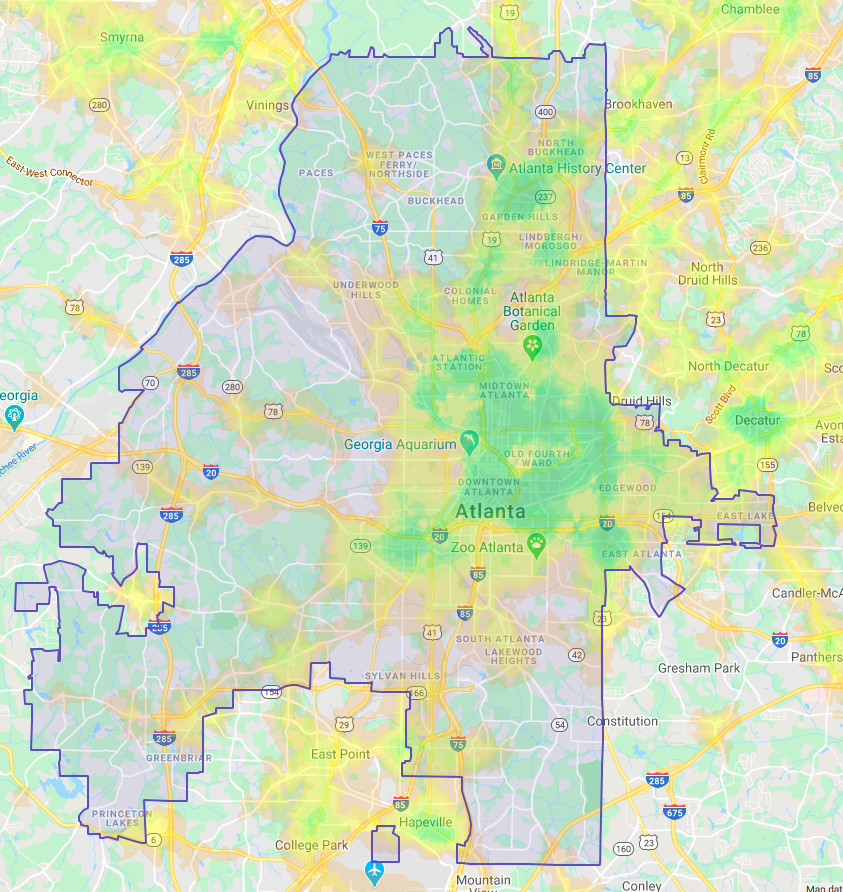 Map of the City of Atlanta with green shaded areas to highlight walkability.