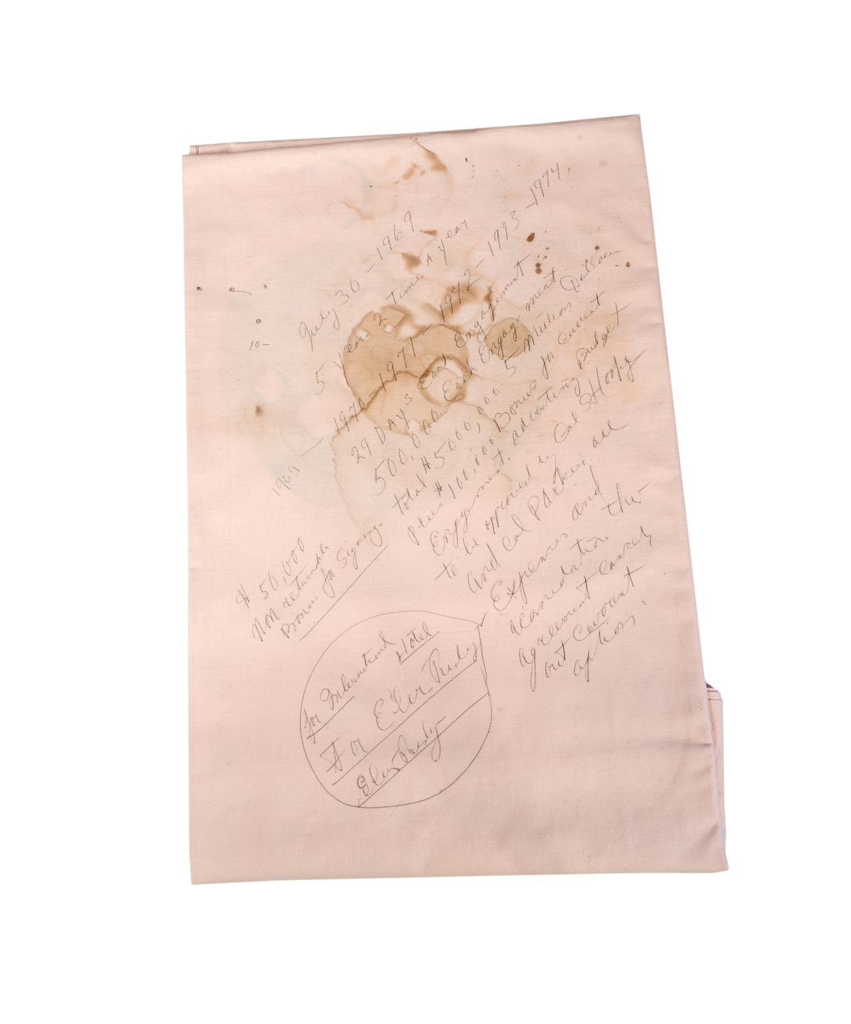 Elvis' tablecloth contract