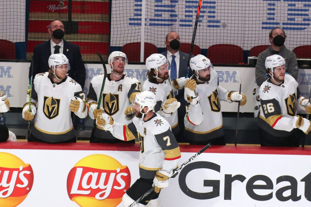Vegas Golden Knights defenseman Alex Pietrangelo (7) celebrates his goal against Montreal Canadiens with teammates during the third period in game three of the 2021 Stanley Cup Semifinals at Bell Centre.