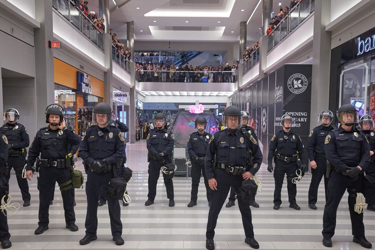 Police during the 2014 Black Lives Matter protest at the Mall of America.