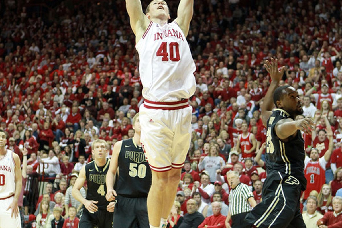 BLOOMINGTON, IN - MARCH 04:  Cody Zeller #40 of the Indiana Hoosiers dunks the ball during the Big Ten Conference game against the Purdue Boilermakers at Assembly Hall on March 4, 2012 in Bloomington, Indiana.  (Photo by Andy Lyons/Getty Images)
