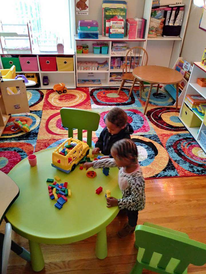Jeter transformed her living room into a colorful preschool classroom