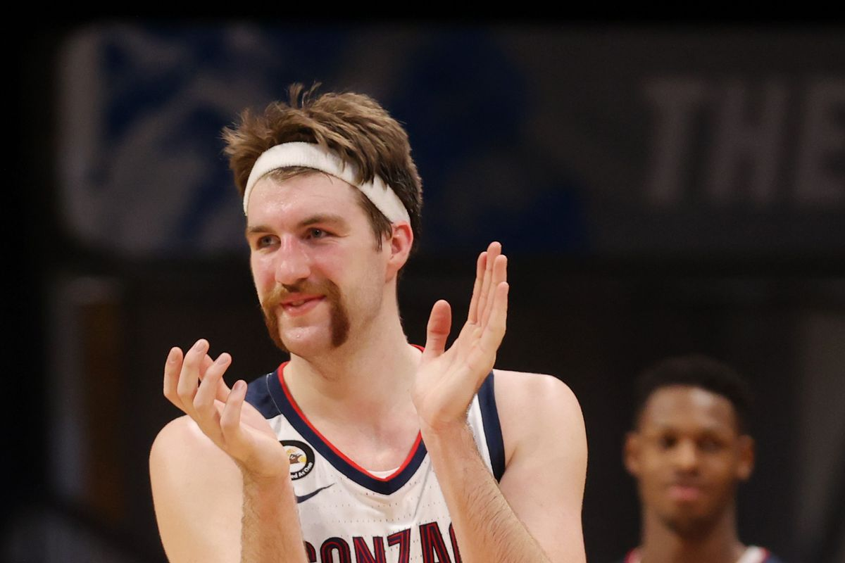 Drew Timme #2 of the Gonzaga Bulldogs reacts to beating the Oklahoma Sooners in the second round game of the 2021 NCAA Men's Basketball Tournament at Hinkle Fieldhouse on March 22, 2021 in Indianapolis, Indiana.