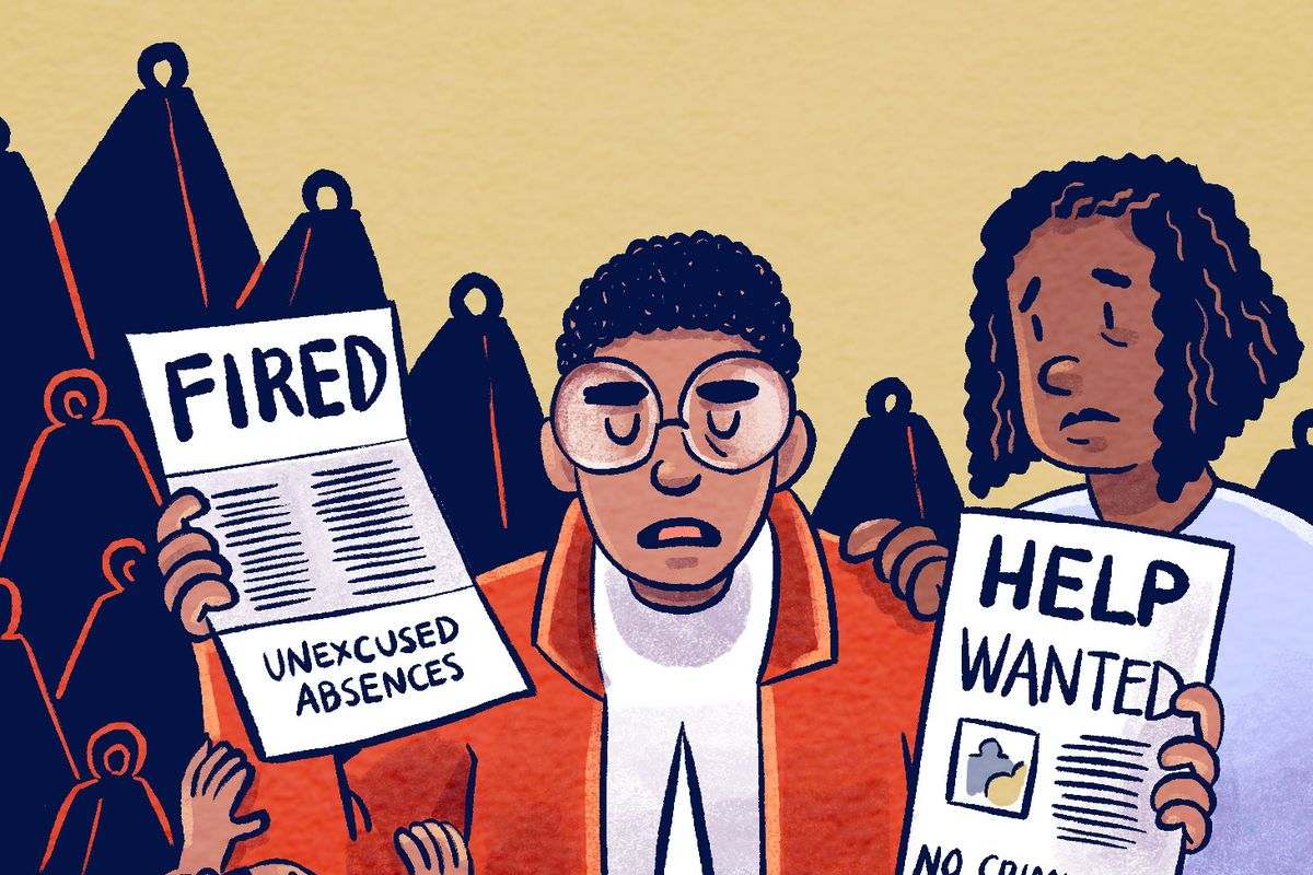 """Cartoon of people holding a """"help wanted"""" ad and a paper that says """"fired."""""""