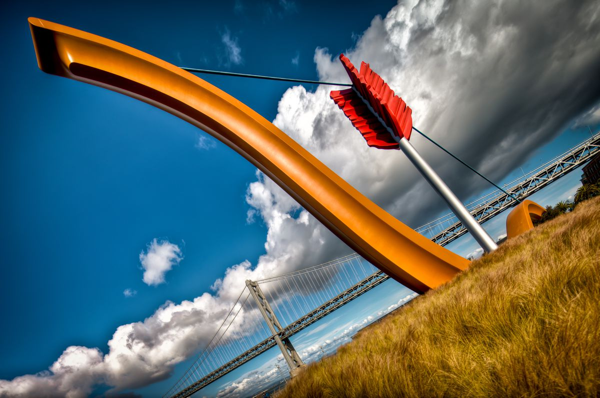 Cupid's Span with the Bay Bridge in the background.