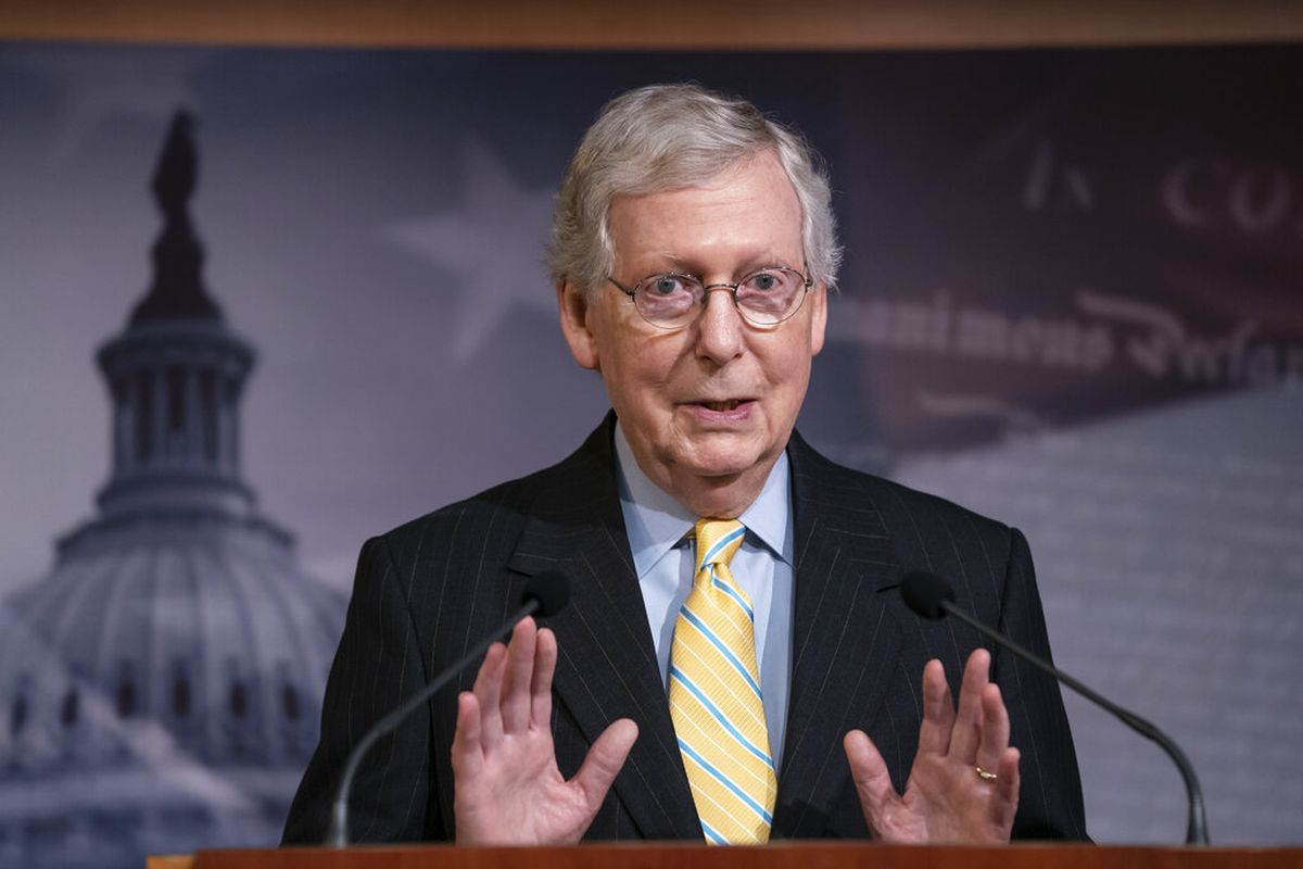 """Senate Majority Leader Mitch McConnell, R-Ky., holds a news conference ahead of the Fourth of July break, at the Capitol in Washington, Thursday, June 27, 2019. House Speaker Nancy Pelosi says the House will """"reluctantly"""" pass the Senate version of a bord"""