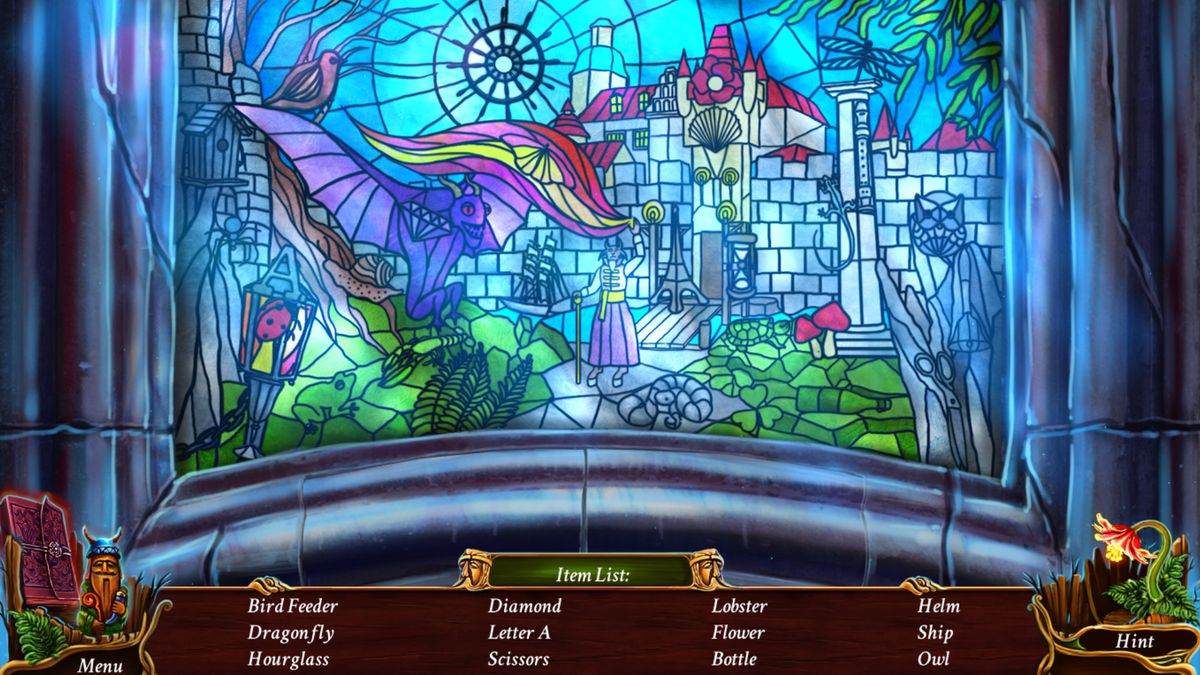 a stained glass window with a castle