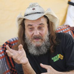"Donald ""Hippie"" Montgomery talk about his living conditions at Camp Esperanza homeless camp in Austin, Texas, on Tuesday, Oct. 20, 2020."