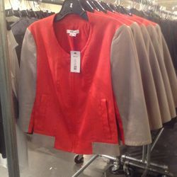 Cropped leather-and-canvas jacket, $199