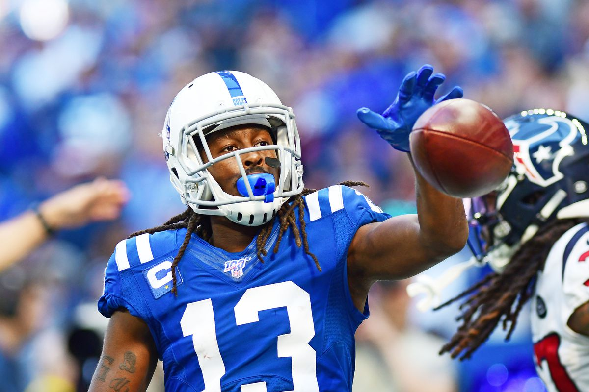 Indianapolis Colts receiver T.Y. Hilton makes a first down reception against the Houston Texans in the second half at Lucas Oil Stadium.