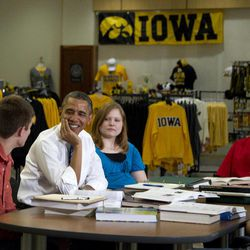 President Barack Obama participates in a roundtable discussion with students at the University of Iowa, Wednesday, April 25, 2012, in Iowa City, Iowa. From left are, Blake Anderson, the president, Myranda Burnett, Jordan Garrison-Nickerson, and Martin Lopez.